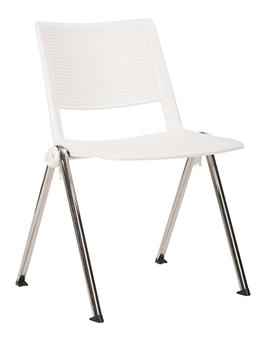 Pinnacle Stacking Chair - White + Chrome Frame