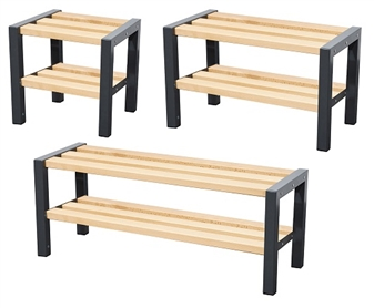 Wooden Cloakroom Benches - Single Sided With Shoerack