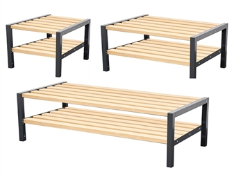 Double Sided Cloakroom Benches With Shoerack