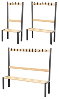 Cloakroom Benches With Hooks - Single Sided