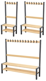 Cloakroom Benches With Hooks - Single Sided With Shoerack