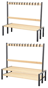 Cloakroom Benches With Hooks - Double Sided (Showing With & Without Shoerack)