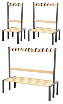 Cloakroom Benches With Hooks - Double Sided