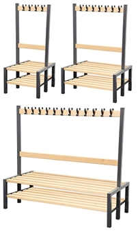 Cloakroom Benches With Hooks - Double Sided With Shoerack