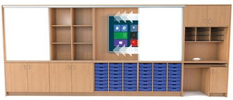 Teacher Storage Wall - 5 Metres Wide - Showing Sliding Whiteboard Doors