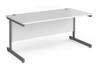 Contract C-Frame Rectangular Desk - 1600mm - WHITE
