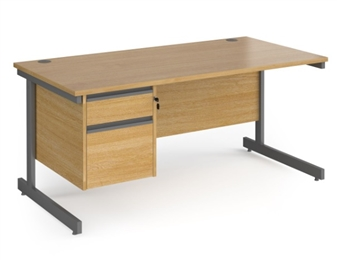 1600mm Contract C-Frame Office Desk With 2 Drawer Pedestal - OAK