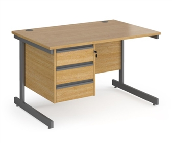 1200mm Contract C-Frame Office Desk With 3 Drawer Pedestal - OAK