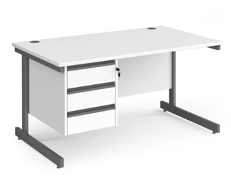 1400mm Contract C-Frame Office Desk With 3 Drawer Pedestal - WHITE