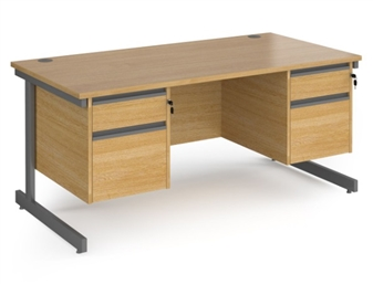 1600mm Contract C-Frame Office Desk With 2 x 2 Drawer Pedestals - OAK