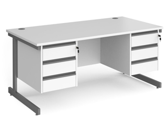 1600mm Contract C-Frame Office Desk With 2 x 3 Drawer Pedestals - WHITE
