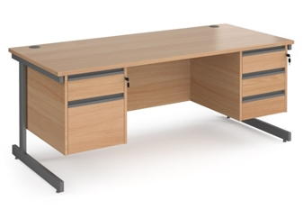 1800mm Contract C-Frame Office Desk With 2 Drawer & 3 Drawer Pedestal - BEECH