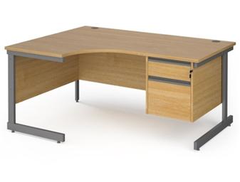 1600mm OAK Contract C-Frame Radial Desk + Fixed 2 Drawer Pedestal - Left Hand Return