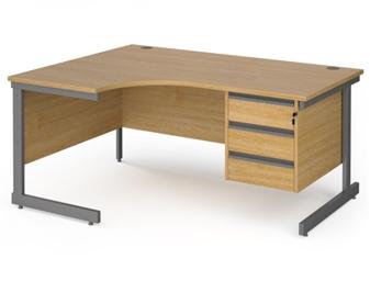 1600mm OAK Contract C-Frame Radial Desk + Fixed 3 Drawer Pedestal - Left Hand Return