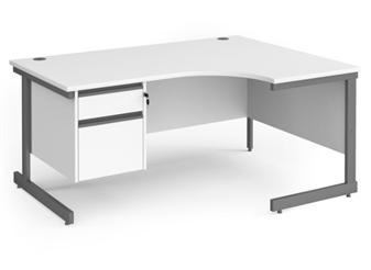 1600mm WHITE Contract C-Frame Radial Desk + Fixed 2 Drawer Pedestal - Right Hand Return