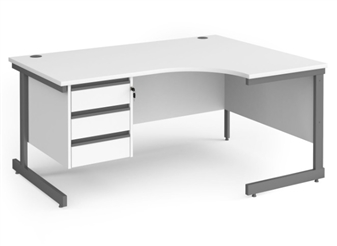 1600mm WHITE Contract C-Frame Radial Desk + Fixed 3 Drawer Pedestal - Right Hand Return