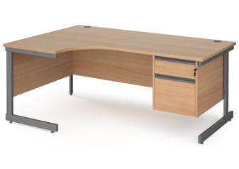 1800mm BEECH Contract C-Frame Radial Desk + Fixed 2 Drawer Pedestal - Left Hand Return