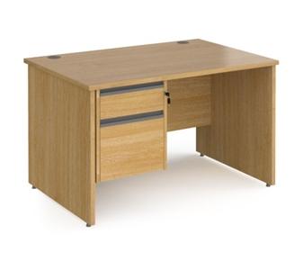 1200mm Contract Panel End Rectangular Desk With 2 Drawer Pedestal - OAK