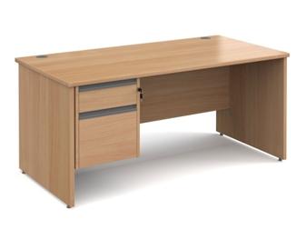1600mm Contract Panel End Rectangular Desk With 2 Drawer Pedestal - BEECH