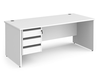 1800mm Contract Panel End Rectangular Desk With 3 Drawer Pedestal - WHITE