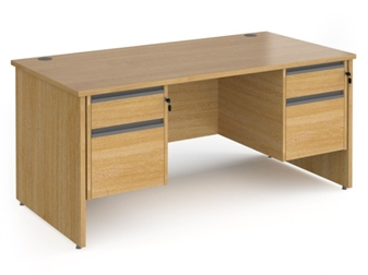 1600mm Contract Panel End Rectangular Desk With 2 x 2 Drawer Pedestals - OAK