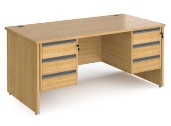 1600mm Contract Panel End Rectangular Desk With 2 x 3 Drawer Pedestals - OAK