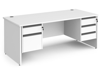 1800mm Contract Panel End Rectangular Desk With 1 x 2 Drawer & 1 x 3-Drawer Pedestal - WHITE