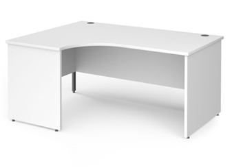 1600mm Contract Panel End Radial Desk - Left Hand - WHITE