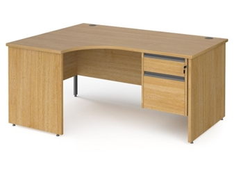 1600mm OAK Contract Panel End Radial Desk + Fixed 2 Drawer Pedestal - Left Hand Return