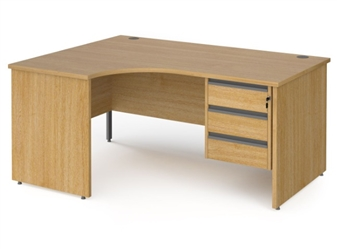 1600mm OAK Contract Panel End Radial Desk + Fixed 3 Drawer Pedestal - Left Hand Return