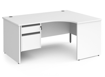 1600mm WHITE Contract Panel End Radial Desk + Fixed 2 Drawer Pedestal - Right Hand Return
