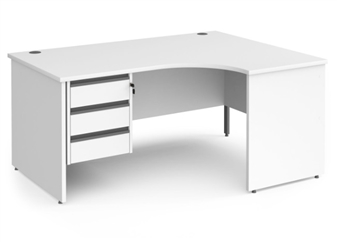 1600mm WHITE Contract Panel End Radial Desk + Fixed 3 Drawer Pedestal - Right Hand Return