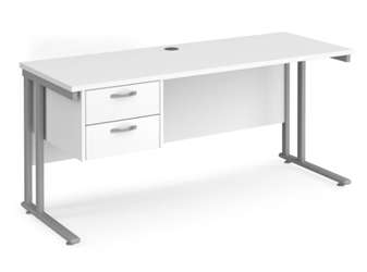 600mm Deep Desk With Single Pedestal - WHITE