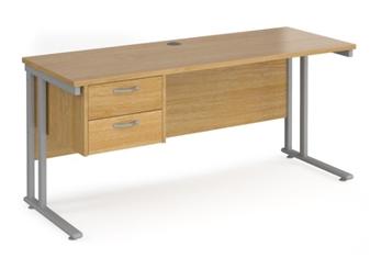 600mm Deep Desk With Single Pedestal - OAK