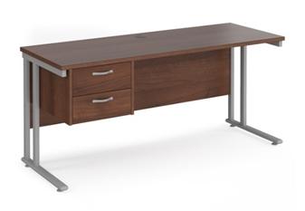 600mm Deep Desk With Single Pedestal - WALNUT