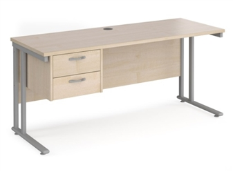 600mm Deep Desk With Single Pedestal - MAPLE