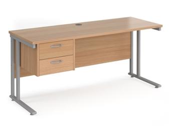 600mm Deep Desk With Single Pedestal - BEECH