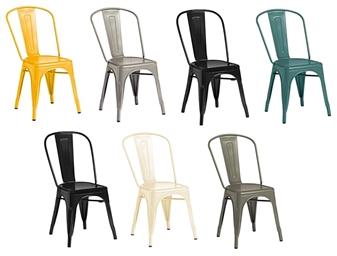 Piero Metal Bistro Chairs - Yellow, Gun Metal, Matt Black, Blue, Gloss Black, Cream, Dark Grey