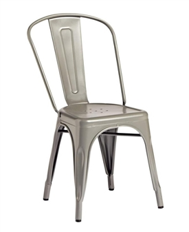 Piero Metal Bistro Chair - Gun Metal