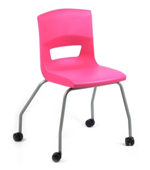 Postura Plus 4 Leg Chair On Castors In Pink Candy - Silver Painted Frame