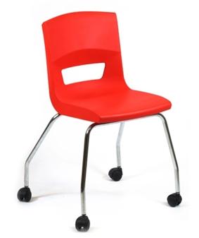 Postura Plus 4 Leg Chair On Castors In Poppy Red - Chrome Frame