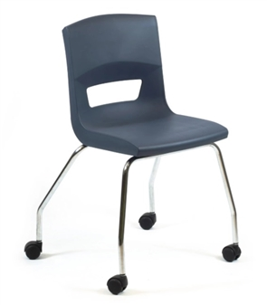 Postura Plus 4 Leg Chair On Castors In Slate Grey - Chrome Frame