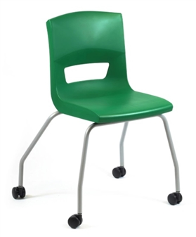 Postura Plus 4 Leg Chair On Castors In Forest Green - Silver Painted Frame