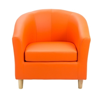 Junior Tub Chair With Wooden Legs - Orange