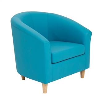 Junior Tub Chair With Wooden Legs - Aqua Blue