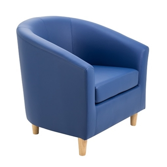 Junior Tub Chair With Wooden Legs - Blue