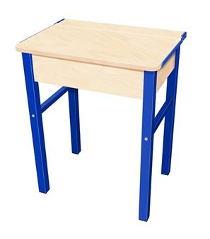 Flip Top Single Study Desk - Maple Top & Blue Legs