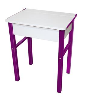 Flip Top Single Study Desk - White Top & Purple Legs