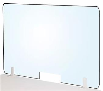 Freestanding Medical Acrylic Desk Divider Screens - With Letter Box Cutout