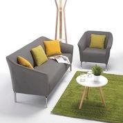 Tux Armchair + 3 Seater Sofa In Dark Grey Fabric + White Coffee Table